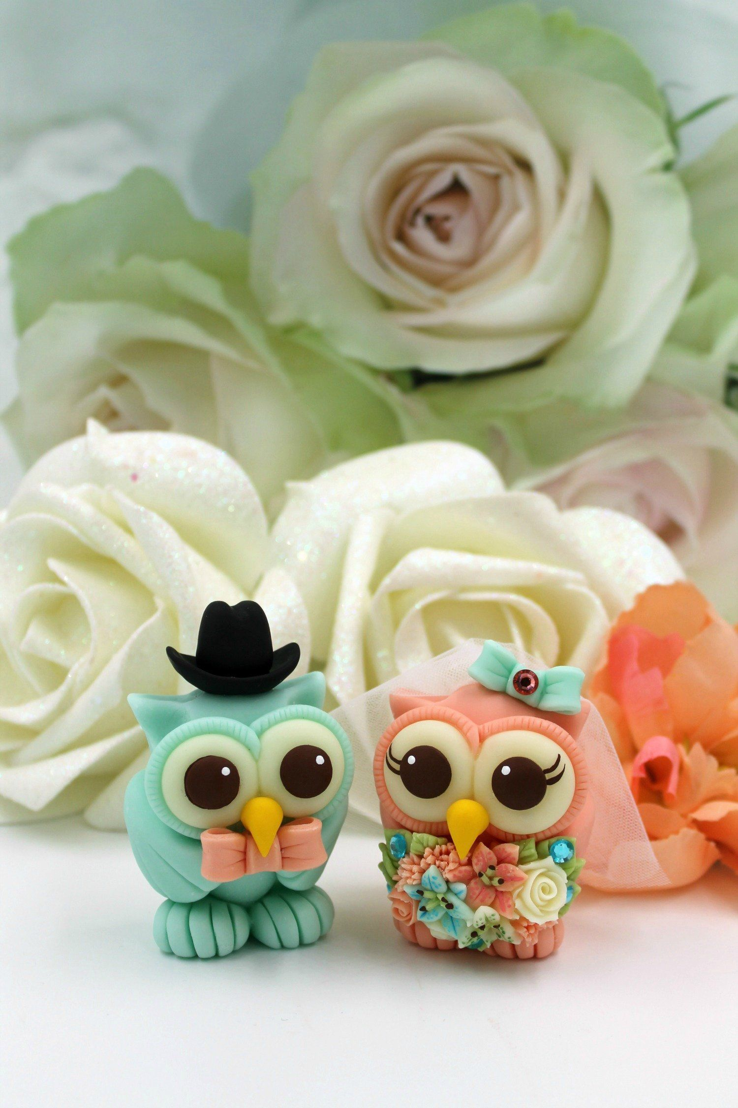 Wedding cake topper, owl cake topper, love bird cake topper, turquoise coral owls bride and groom #turquoisecoralweddings