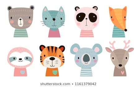 Cute Animal Faces Hand Drawn Characters Vector Illustration Cute Animal Clipart Cute Animal Illustration How To Draw Hands