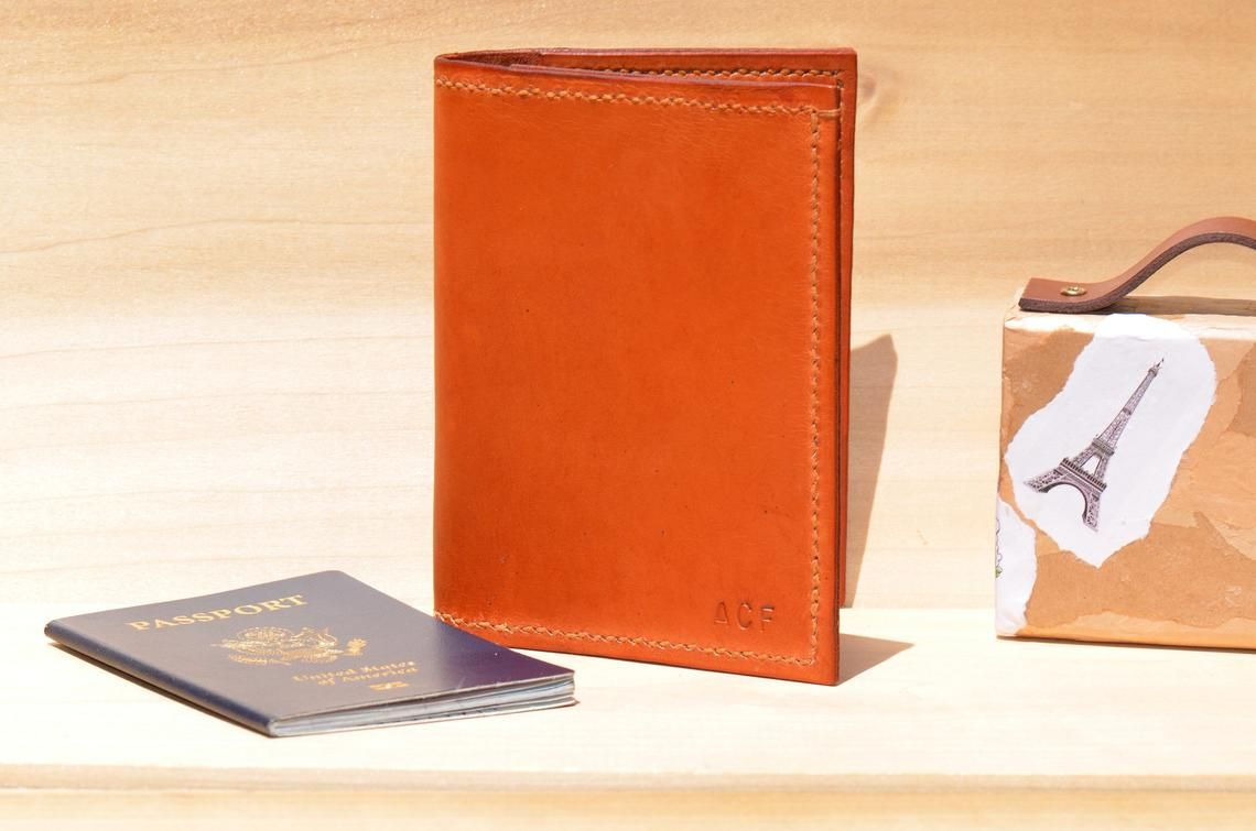 1cc1d05f0b6f Personalized Leather Passport Holder + Tag, Custom Passport Cover ...