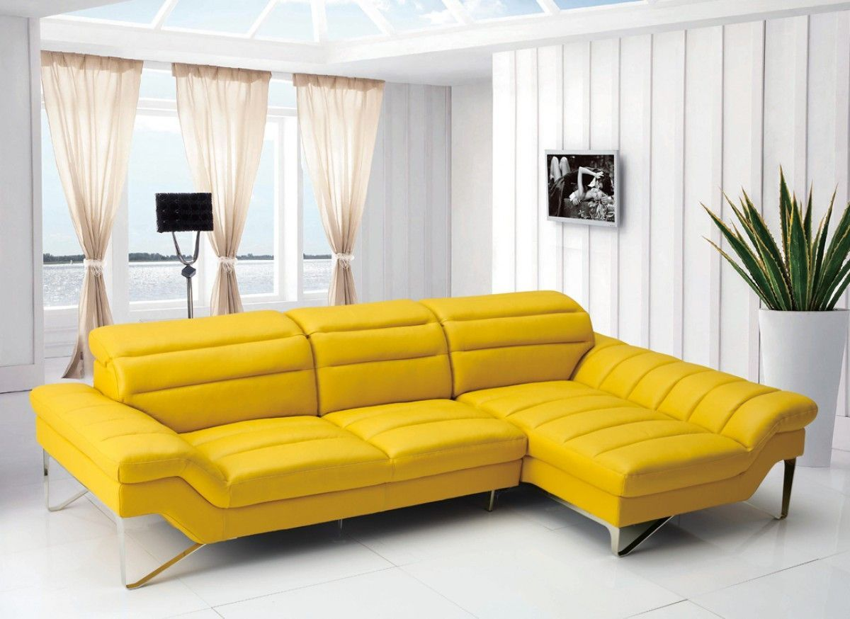 Divani Casa 994b Modern Yellow Leather Sectional Sofa Classic 2 Modern Furniture S Yellow Leather Sofas Italian Leather Sectional Sofa Leather Sectional Sofa