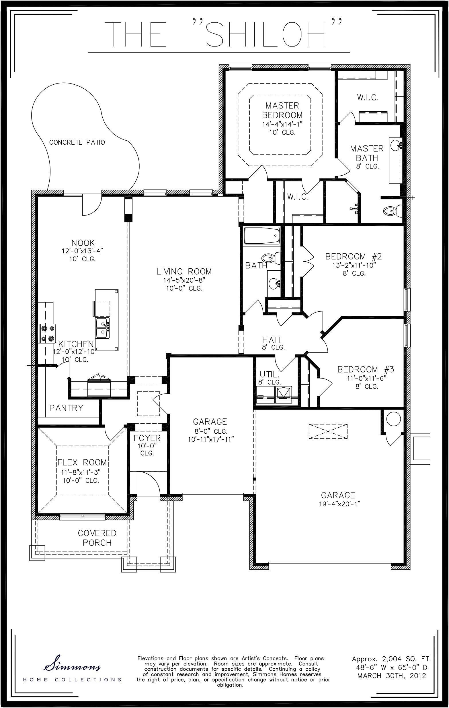 Simmons Homes Shiloh Floor Plan 2 004 Sq Ft 3 Bedrooms 2 Baths 3 Car Garage New Homes Tulsa Oklahoma Home Floor Plans Whitehall House Floor Plans