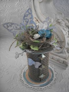 CraftDee1: May Arts Ribbon Spring Craft Challenge spool with butterflies and flourishes
