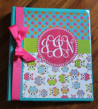 personalized binder cover insert owl hot pink diy printable on etsy 500