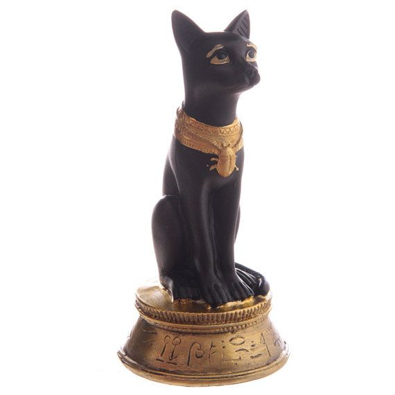 Ornaments Decorative Black and Gold Bast Egyptian Small Figurine Home Decor Gift Ideas Height 13.5cm