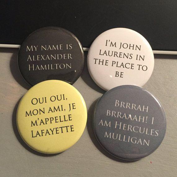 Hamilton Inspired Four Friends - Hamilton, Lafayette, Laurens, Mulligan - Button…