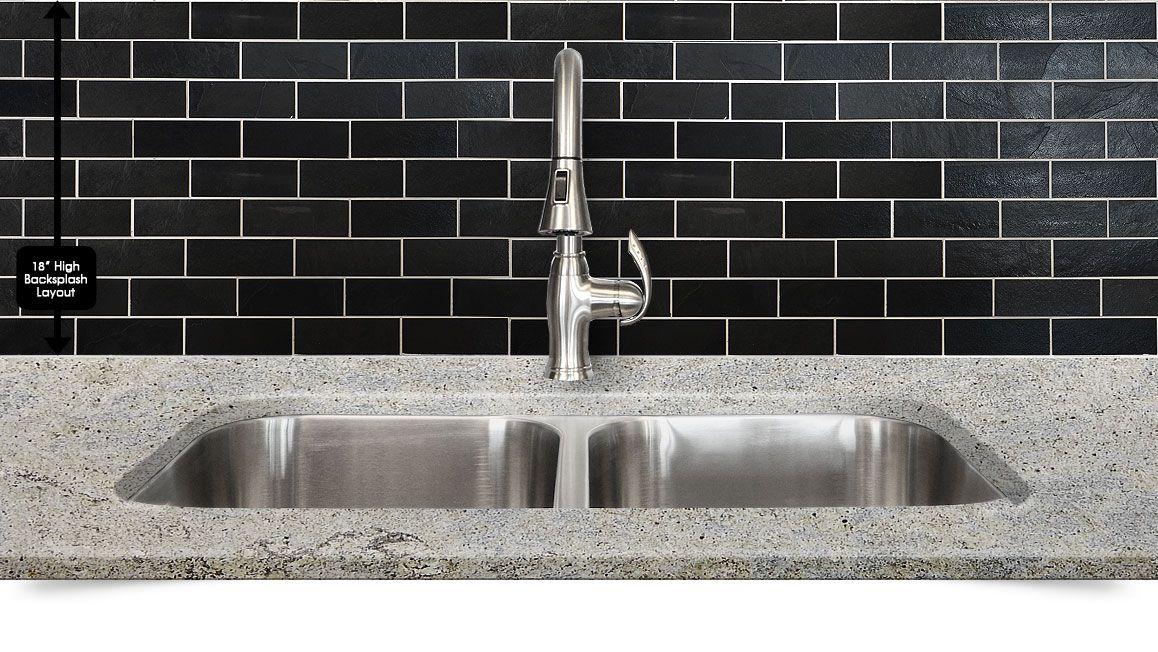 Black slate backsplash tile white kitchen cabinets and new