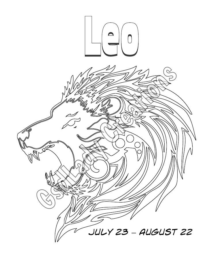 Leo, Zodiac, Star Sign, Art Print, Astrology Print, Coloring Page ...