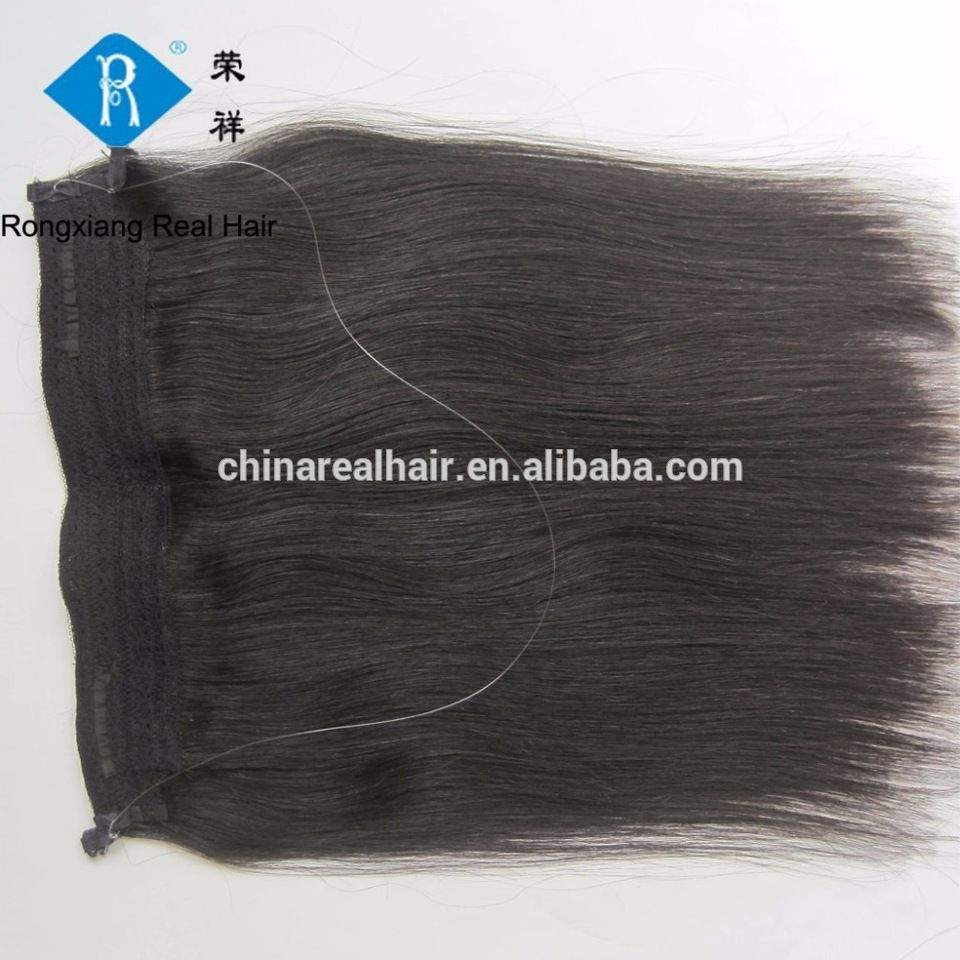 Cheap Wholesale Black Color Straight Human Hair Extensions Halo