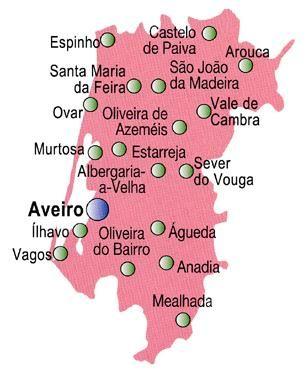 Mapa Do Distrito De Aveiro Portugal Mapa Plano De Viagem Portugal