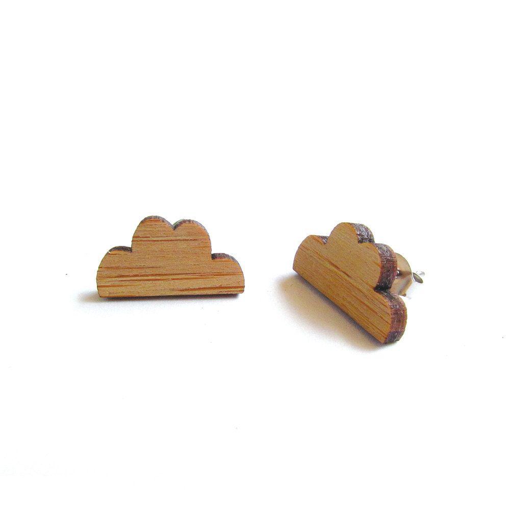 Fluffy Cloud Lasercut Bamboo Wood Earrings