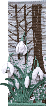 Snowdrops for Winter., One of the Four Seasons wall hangings set.
