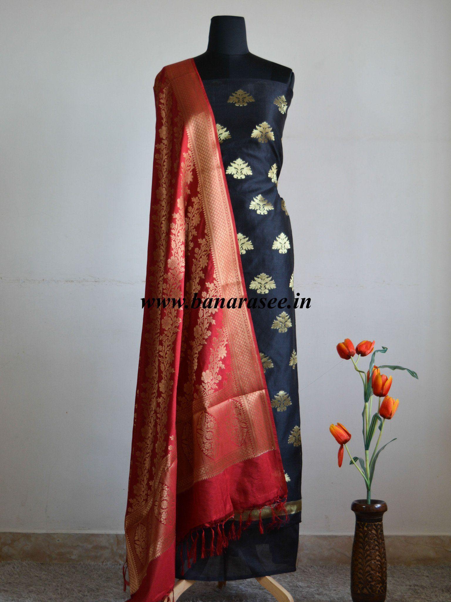 d114957518 Banarasee/Banarasi Salwar Kameez Chanderi Zari Buta Woven Fabric With Deep  Red Pure Dupion Silk Dupatta-Black