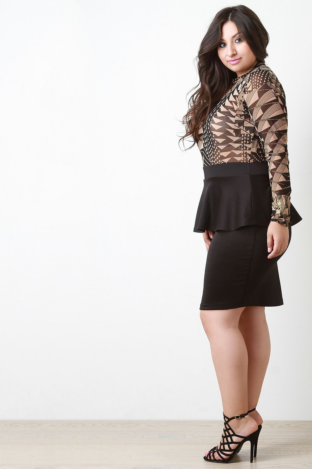 Geo Mesh Contrast Dress
