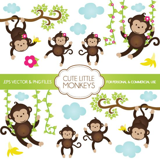 Our Cute Little Monkeys clipart come in PNG, and EPS Illustrator ...