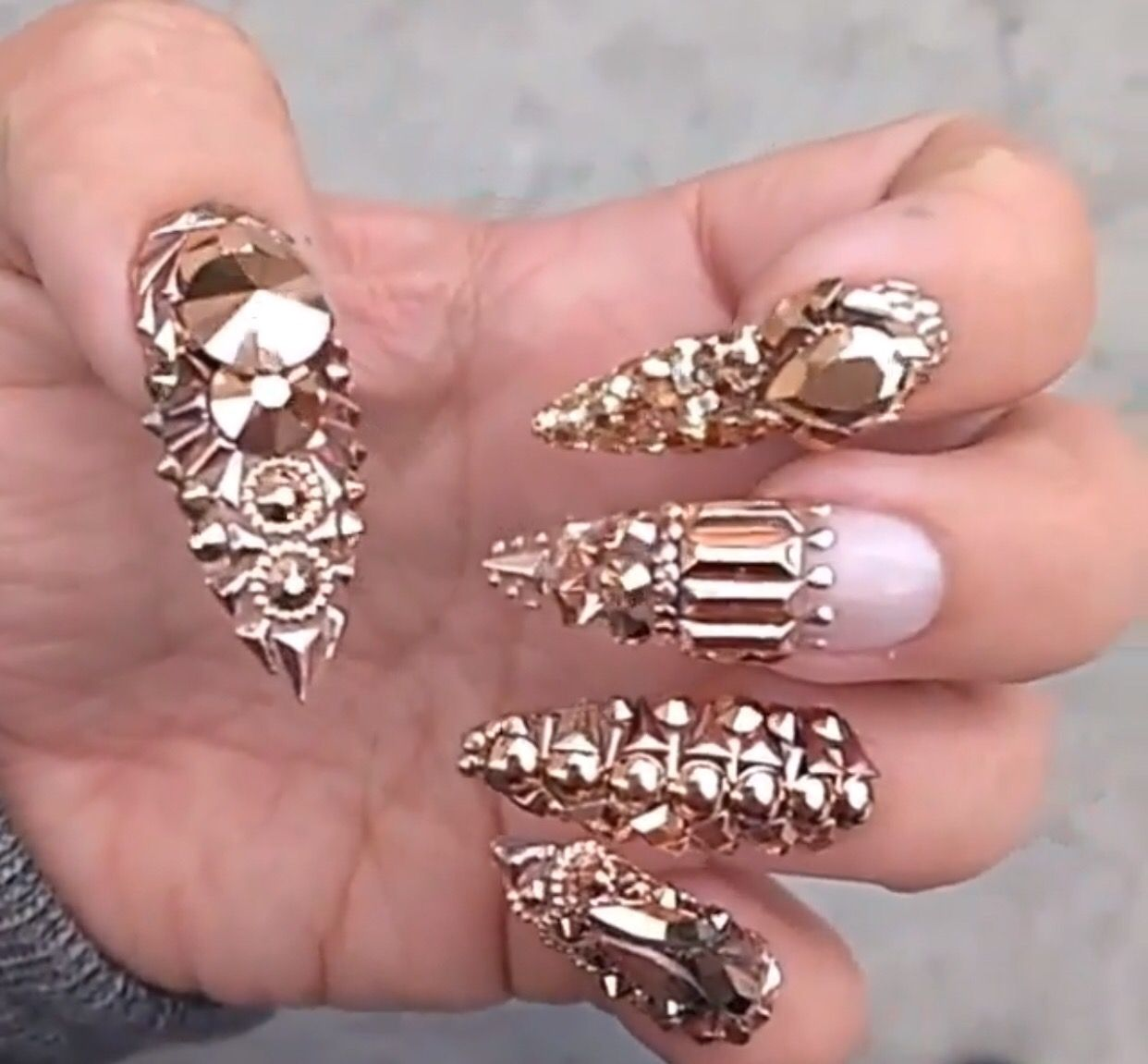 3D gold studded clear nails | Nails | Pinterest | Clear nails, Nail ...
