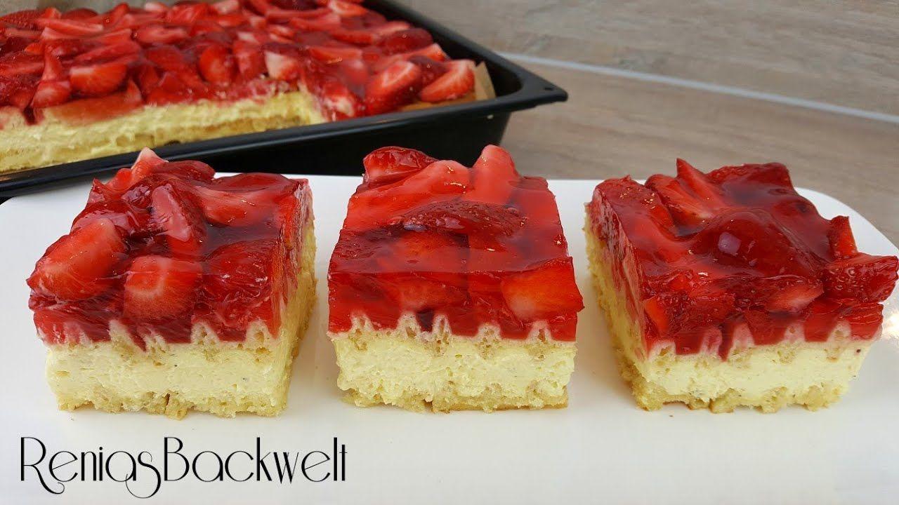 Erdbeerschnitten Ohne Backen Auf Die Schnelle Art Erdbeerkuchen Mit Vanillecreme Erdbeerschnitten Erdbeerkuchen Ohne Backen