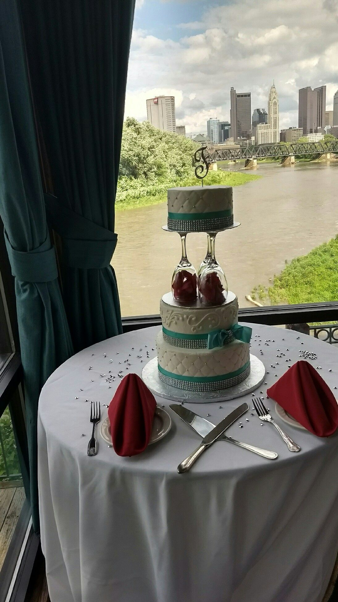 Tiffany blue and red wedding cake with wine glasses my wedding
