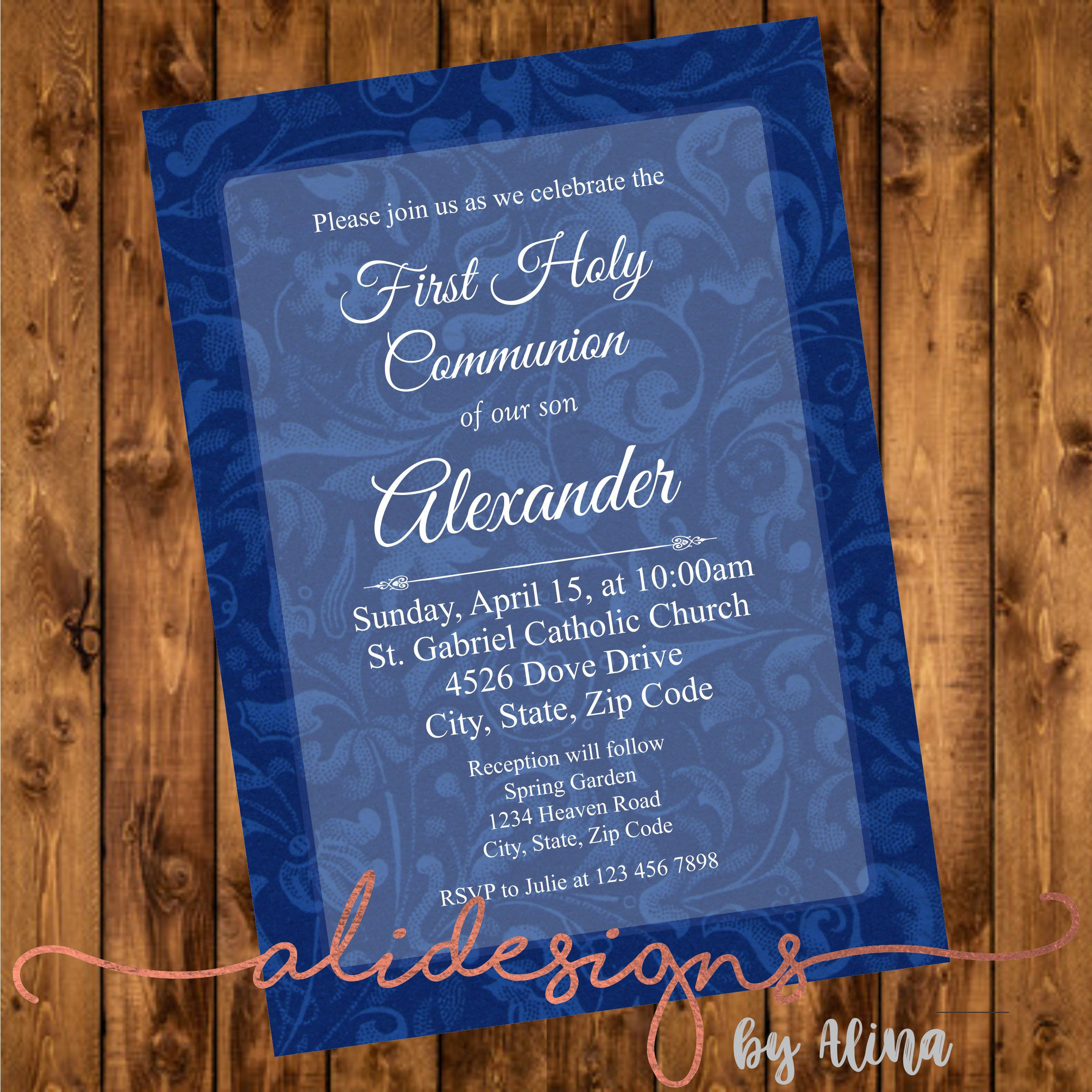 First holy communion invitation, printable file by