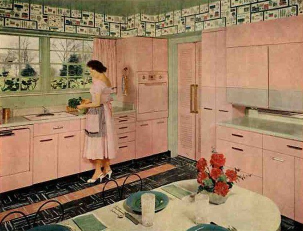 61 Mamie Pink Kitchens Day 3 With These Midcentury Marvels Pink Kitchen Pink Kitchen Cabinets Metal Kitchen
