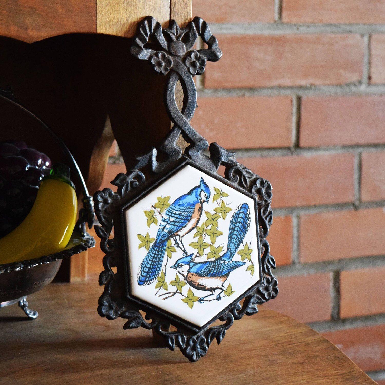 Vintage Cast Iron Trivet Beautiful Blue Jay Tile Metal