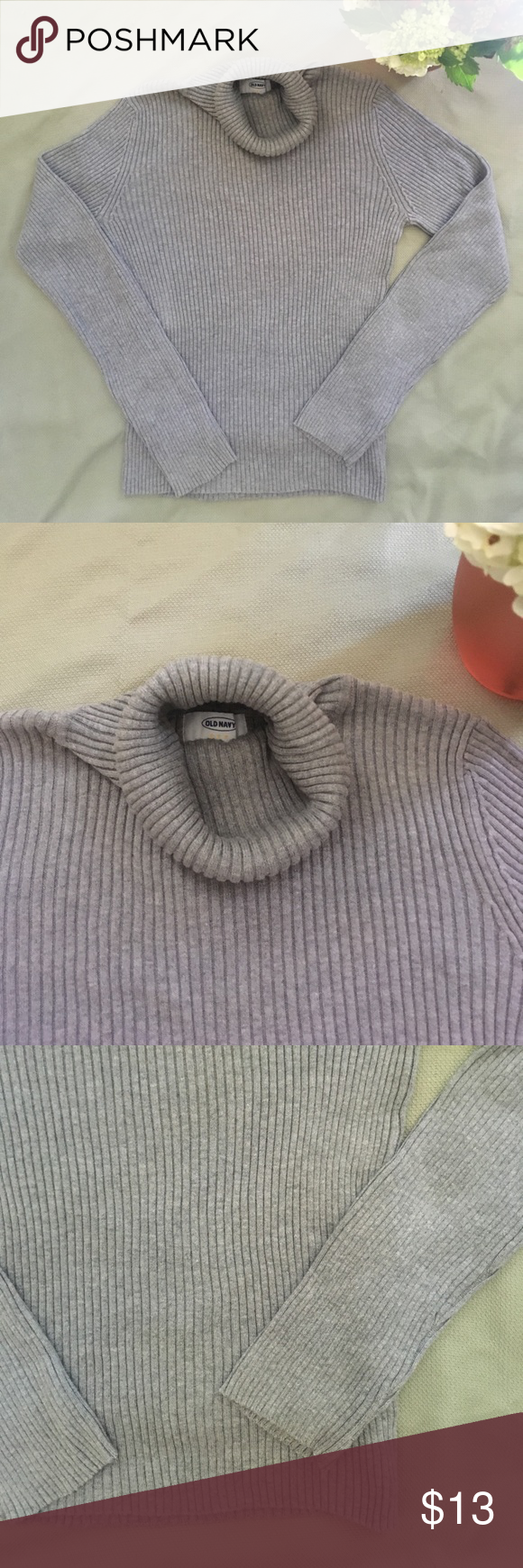 Gray cotton turtleneck sweater | Cotton and Gray