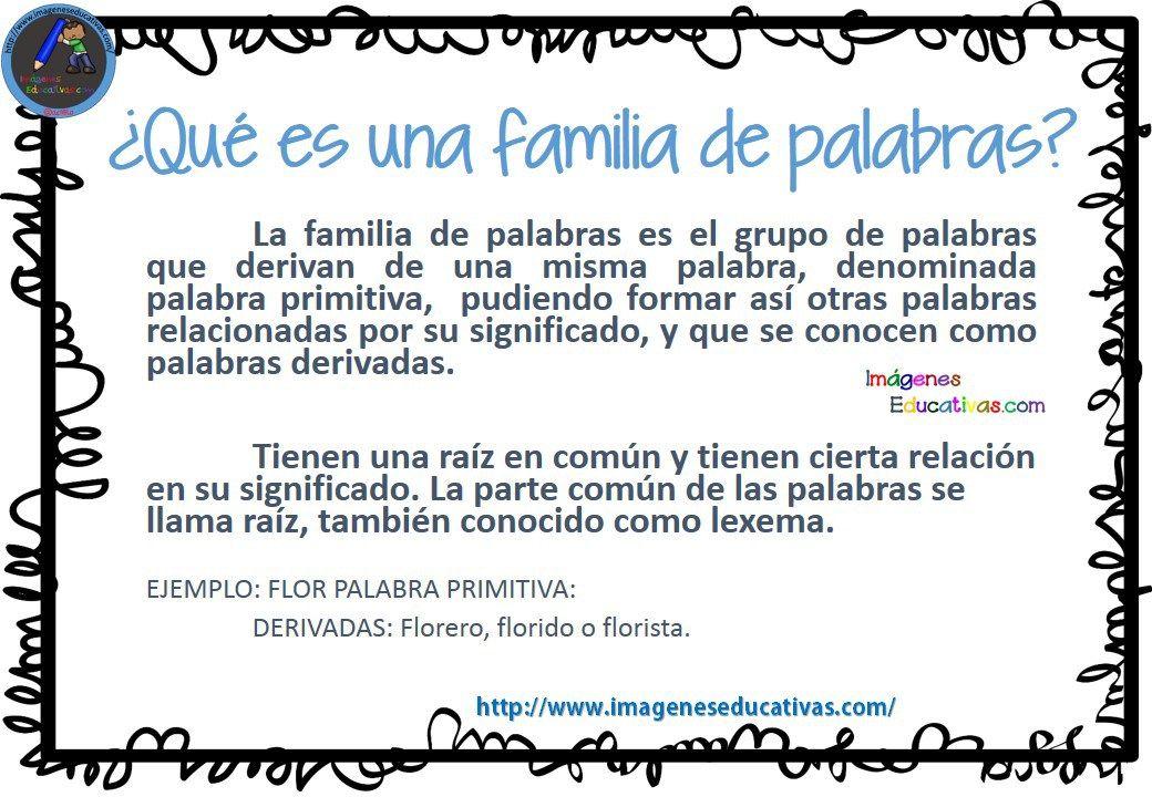 La Familia De Las Palabras Familia De Palabras Palabras Nombres Propios Y Comunes