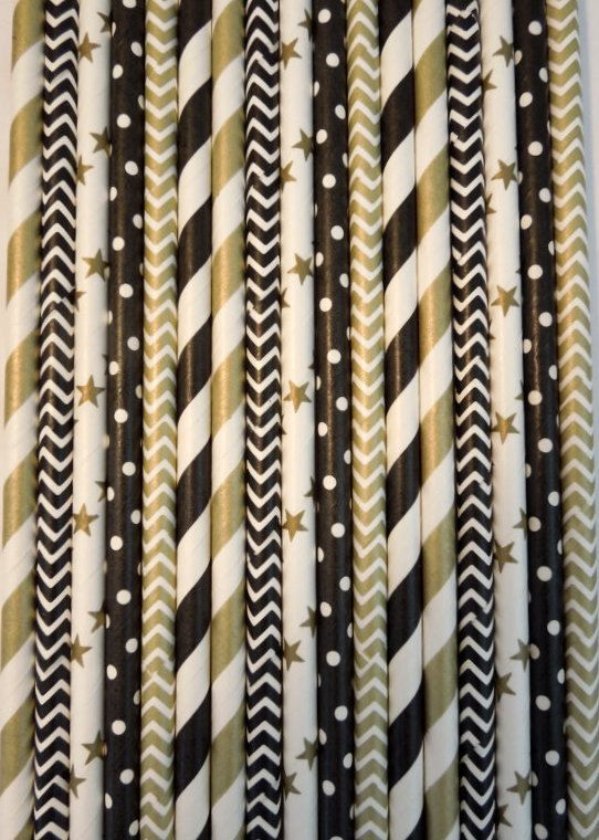 50 Black Gold Paper Straws Wedding Decor 40th Birthday Decoration Striped Cocktail Party