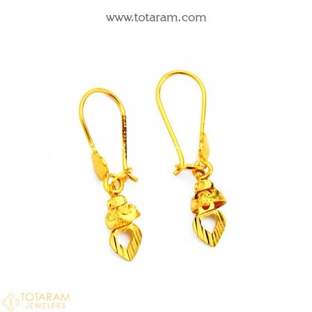 Gold Baby Hoop Earrings Ear Bali In 22k 235 Ger7839