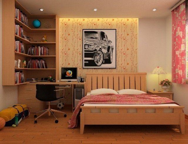 une belle chambre d\u0027ado avec mobilier en bois chbre Pinterest