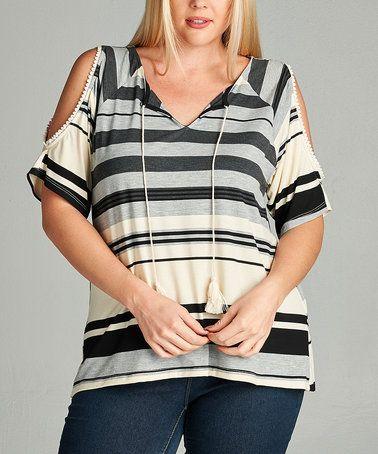 Look at this #zulilyfind! Black & Taupe Stripe Cold-Shoulder Top - Plus #zulilyfinds