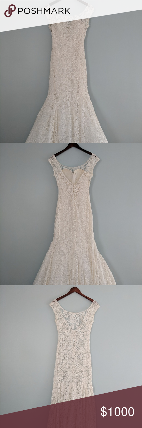 Timeless lace wedding gown This Lela Rose gown (two parts)is by far the most unique and elegant wedding dress one can find. The intricate lace design for the overlay is exquisitely unique. The full bodice gown is simple and sweet, very flattering to the body. This dress will absolutely make you soar on your wedding day.  A two inch piece of fabric was added near the zipper in the back and is easily removable if necessary. Listed as size 8, but fits like a size 6. Color is Ivory. Lela…