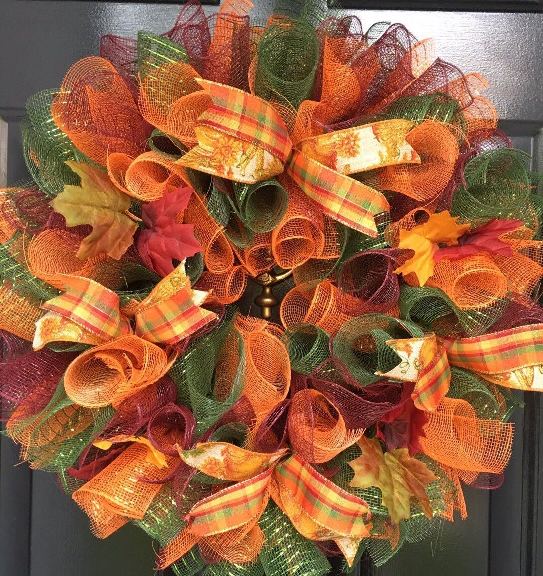 Fall Door Wreath Thanksgiving Autumn Colors Deco Mesh