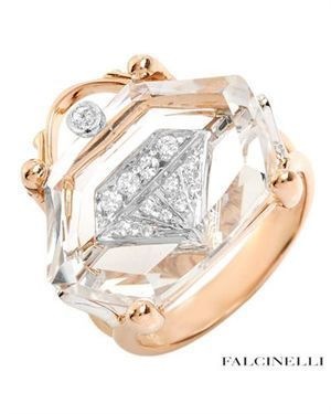 Falcinelli Made In Italy Ring Designed In 18k Two Tone Gold Rings