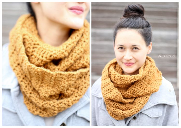 easy ouble crochet infinity scarf – FREE PATTERN - Delia Creates ...