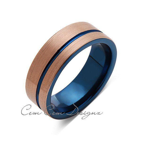 Blue Tungsten Wedding Band Rose Gold Brushed Tungsten Ring 8mm