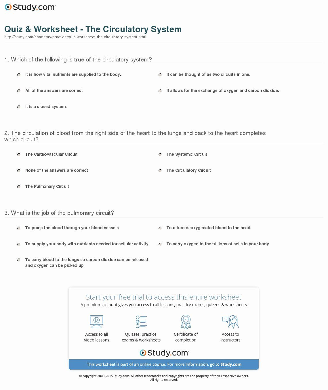 50 Circulatory System Worksheet In