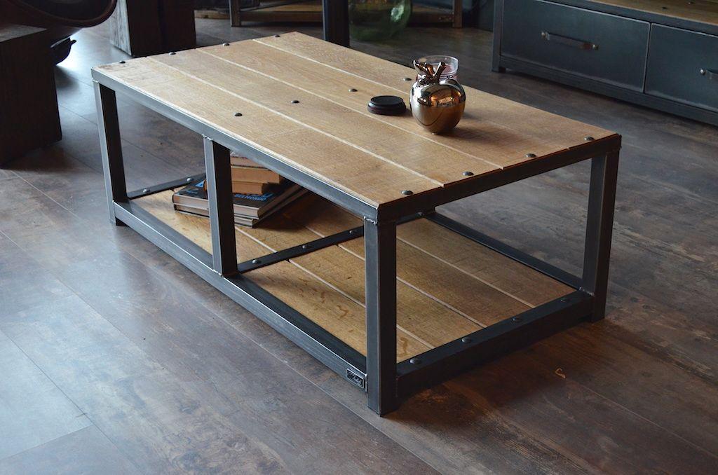Petite Table Basse Métal Et Bois Sur Mesure Micheli Design Maison