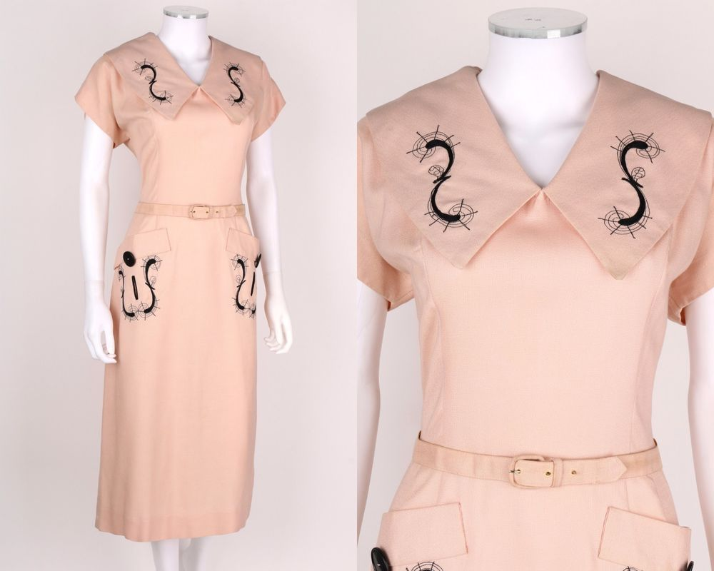 Vtg us us paul sachs pink embroidered chelsea collar lyre dress