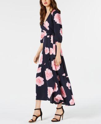 e1ac3ddf973 Bar Iii Floral-Print Flounce Wrap Dress, Created for Macy's - Blue XXL