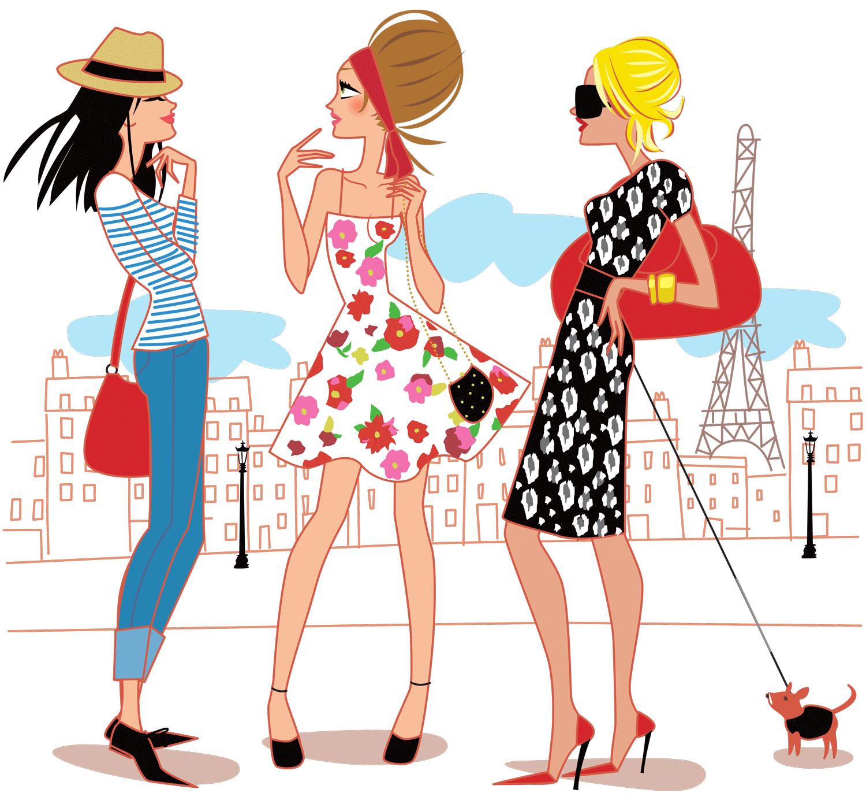 Illustration de 3 filles paris sol ne debi s - Dessin parisienne ...