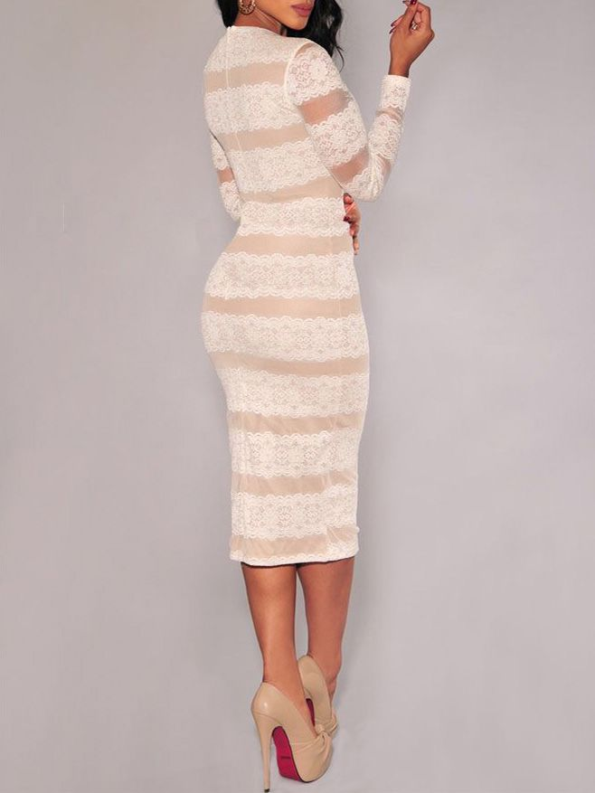 4f88047dc8 Shop White Long Sleeve Lace Bodycon Dress online. SheIn offers White Long  Sleeve Lace Bodycon Dress & more to fit your fashionable needs.