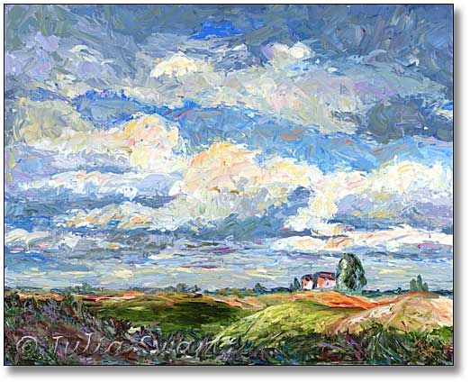 Impressionistic Landscape Oil Painting Of Blue Sky Pittore