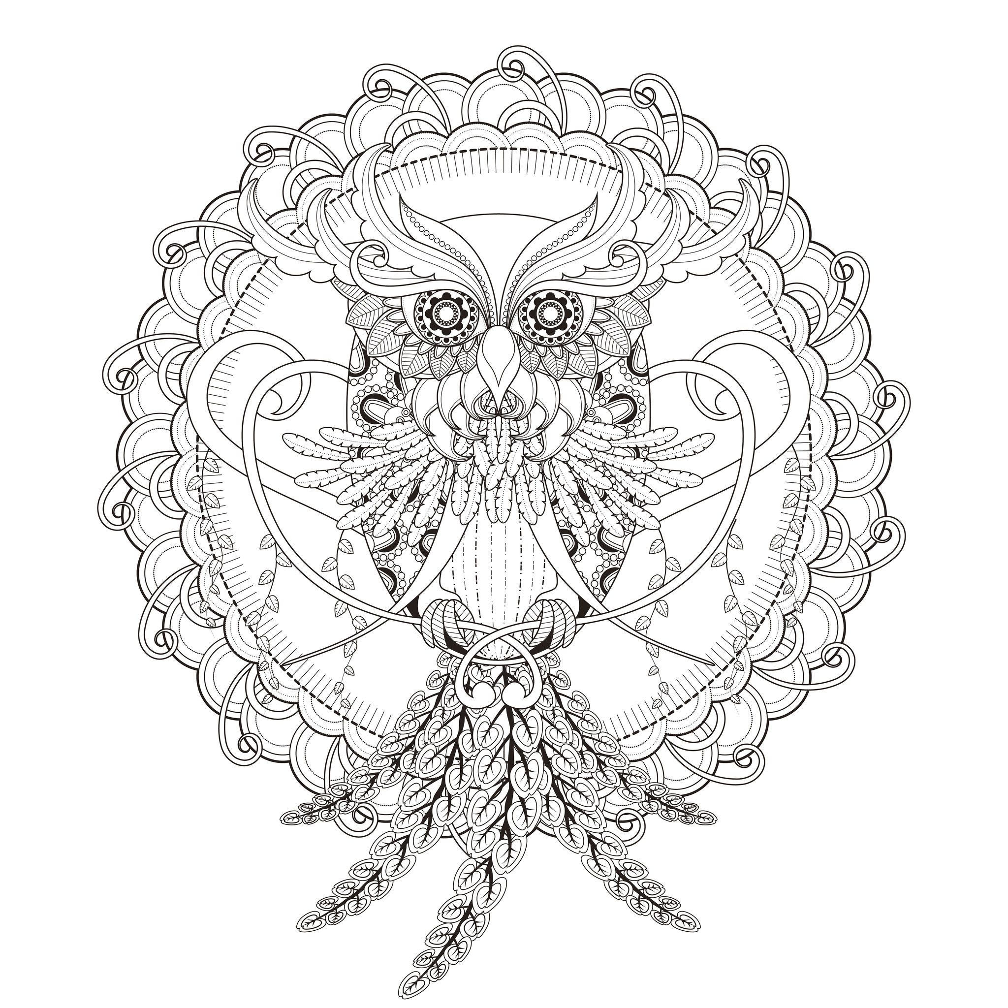 INCREDIBLE Owl Mandala Coloring Page From The Gallery Mandalas Artist Kchung Source 123rf