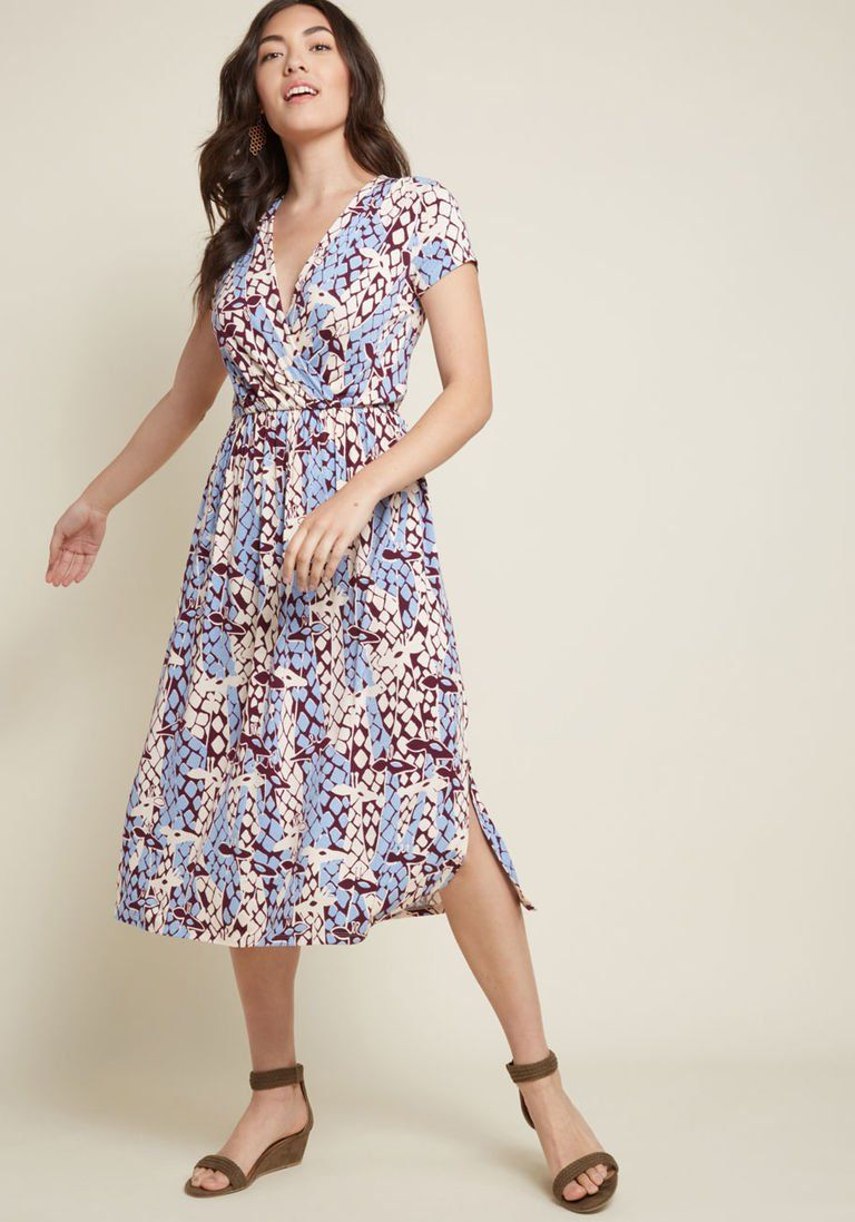 3e16d9c489 Easily Adored Knit Midi Dress in Giraffes in 3X - Short Sleeve A-line by  ModCloth