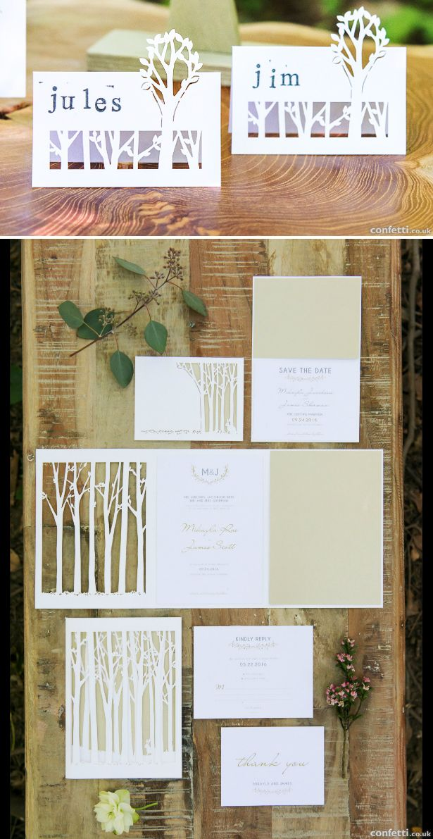 Autumn woodland wedding stationery including Woodland Pretty Laser ...