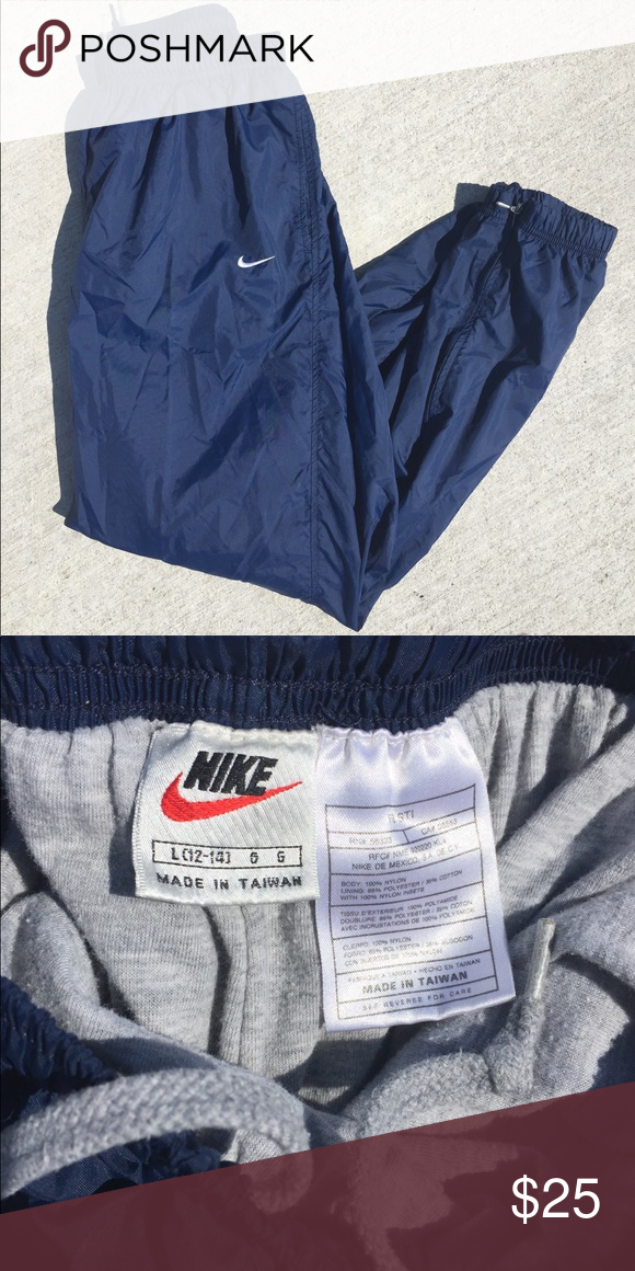 4e92a09eae5a2 Vintage 90s Nike Gray Tag Swishy Track Pants Vintage 90s Nike Swishy Track  Pants Navy blue. Cotton interior. Excellent condition Women's Large  Inseam-30in ...