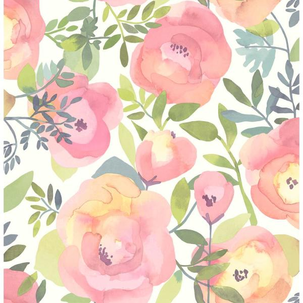 Nuwallpaper Peachy Keen Pink Peel Stick Vinyl Strippable Roll Covers 30 75 Sq Ft Nu3035 The Home Depot Pink Removable Wallpaper Floral Wallpaper Peel And Stick Wallpaper