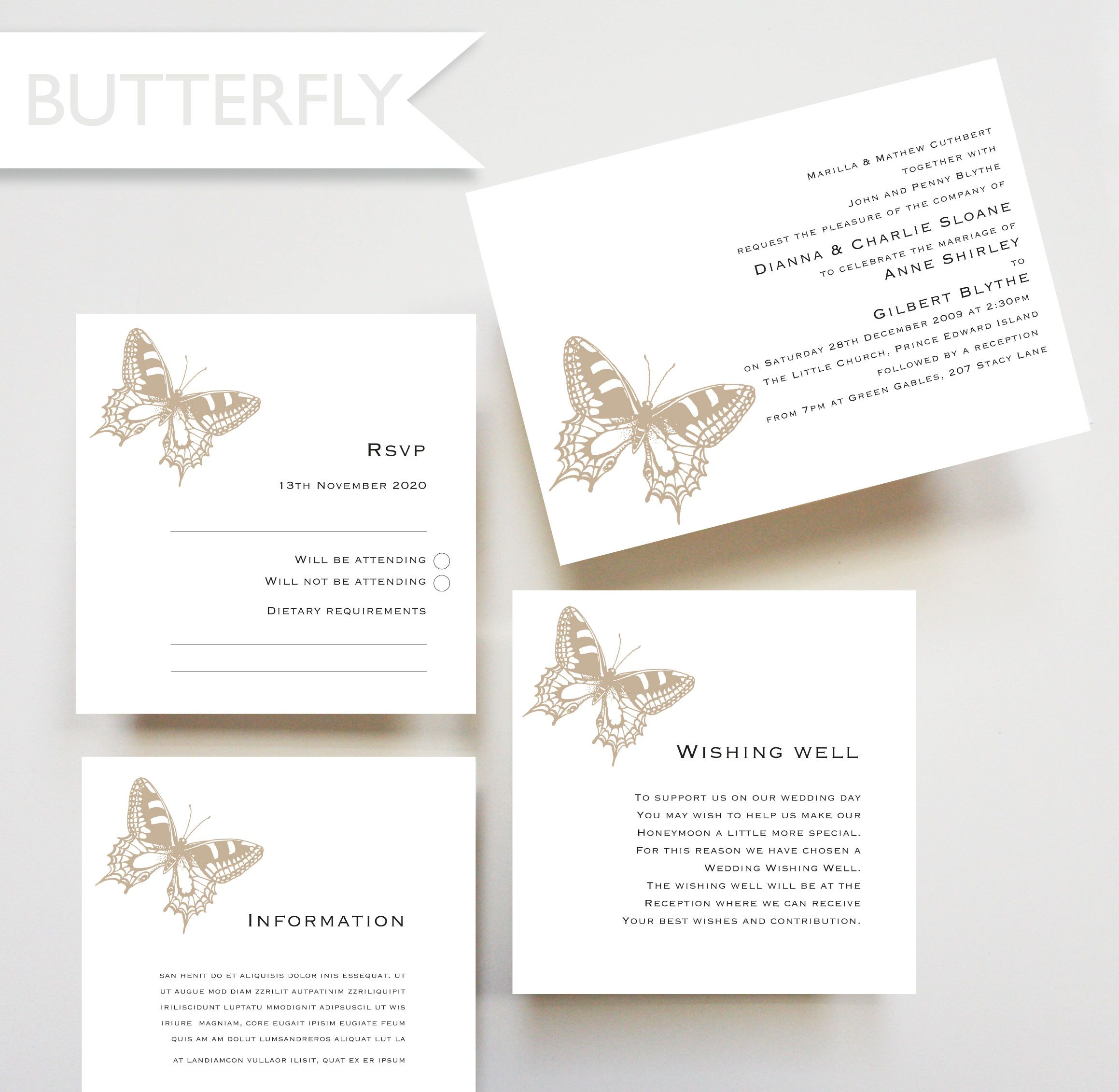 Butterfly design invitation, RSVP card, wishing well card, wedding ...