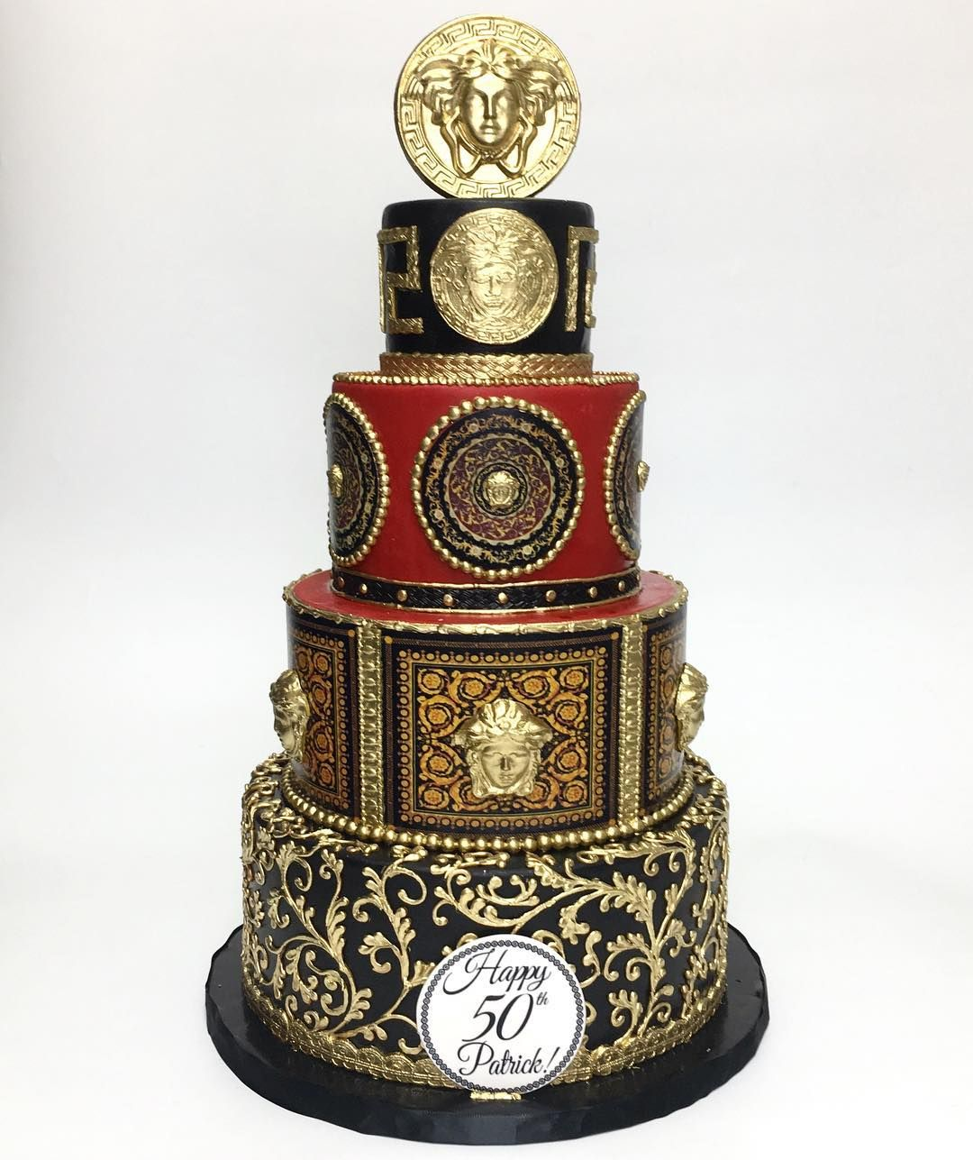 Tremendous Versace Birthday Cake Deliciousarts Versace Medusa Hollywood Funny Birthday Cards Online Eattedamsfinfo