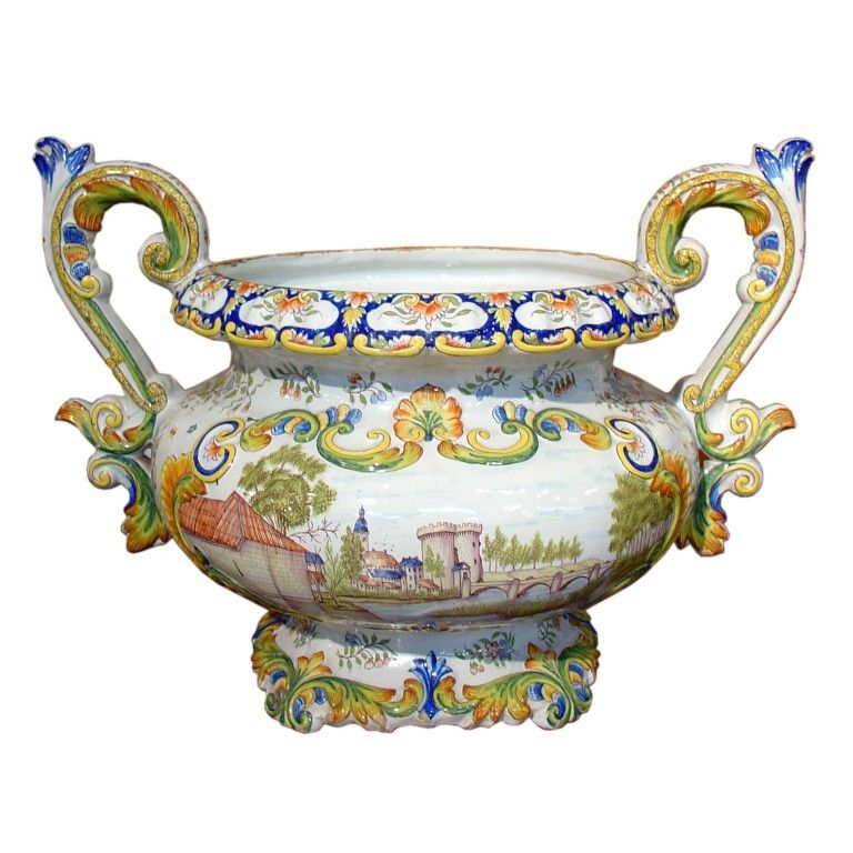 19th Century Desvres Urn From France 1stdibs Com Painting Edges Italian Majolica Sevres Urn